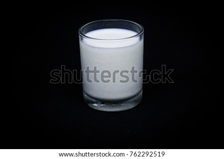 Glass of Milk, Dark Background