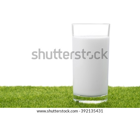 Glass of milk in the grass with isolated background - stock photo