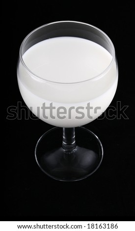 glass of milk isolated on black background