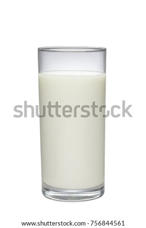Glass of milk isolated on white.