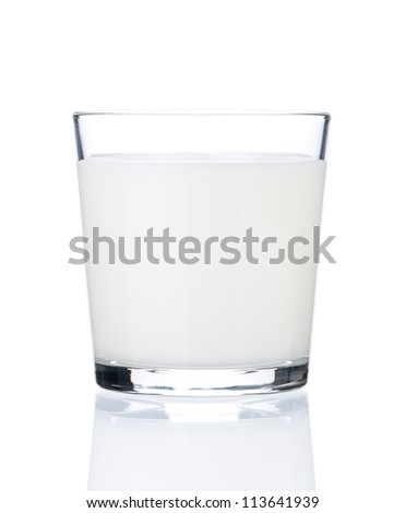 Glass of milk isolated on white background - stock photo