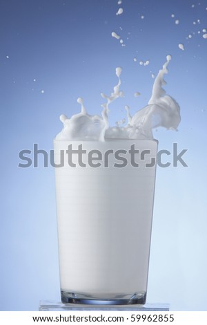 Glass of milk splashing.