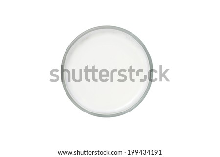glass of milk top view, isolated - stock photo