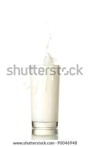 Glass of milk with a splash isolated on white