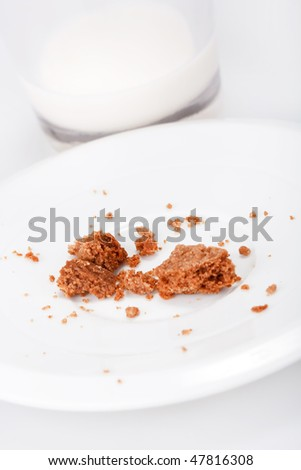 glass of milk with cookies - stock photo