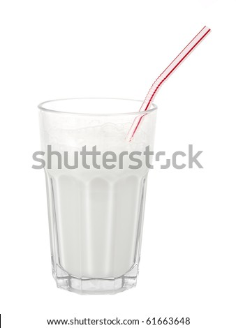 Glass of milk with straw on pure white background - stock photo