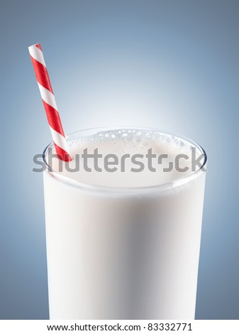 Glass of milk with striped red straw