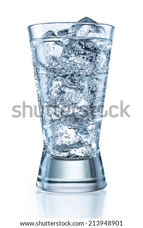 Glass of mineral carbonated water with ice. With clipping path - stock photo