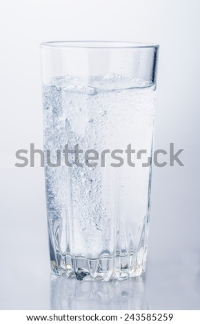 glass of mineral water bubbles Isolated on white background - stock photo