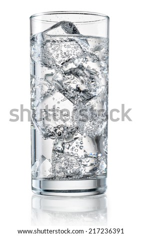 Glass of mineral water with ice. With clipping path - stock photo
