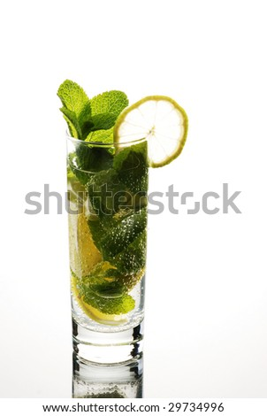 Glass of mojito isolated over white background - stock photo