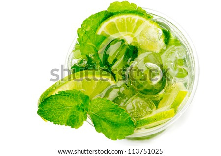Glass of mojito top view - stock photo