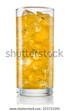 Glass of orange carbonated lemonade fanta. With clipping path - stock photo
