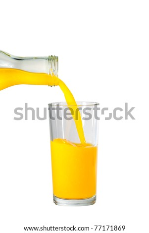 Glass of orange juice being poured