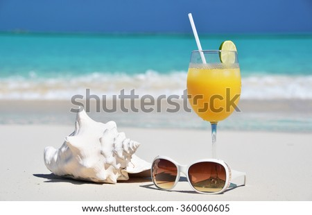 Glass of orange juice. Exuma, Bahamas - stock photo
