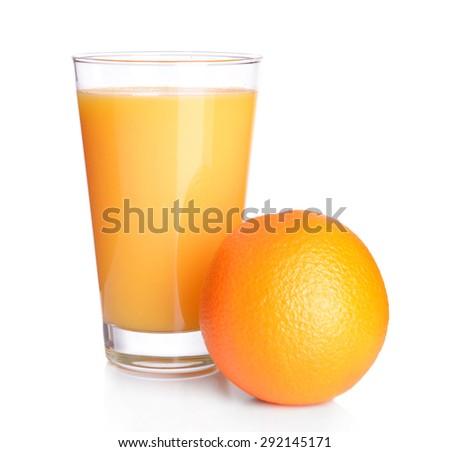 Glass of orange juice isolated on white - stock photo
