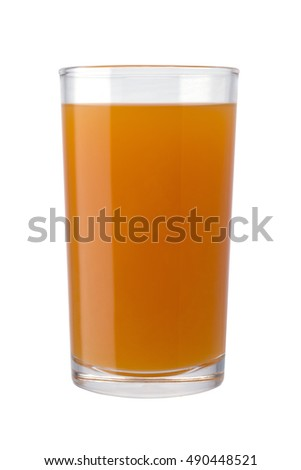 glass of orange juice isolated on white background with clipping path