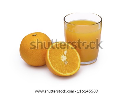 Glass of orange juice isolated on white with clipping path