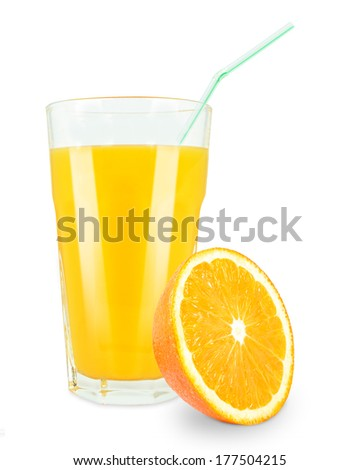 glass of orange juice on white background