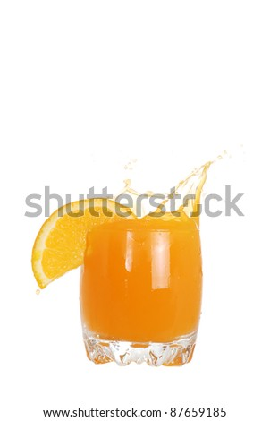 glass of orange juice splash