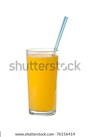 Glass of orange juice with a straw