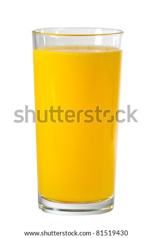 Glass of orange juice (with clipping path) - stock photo