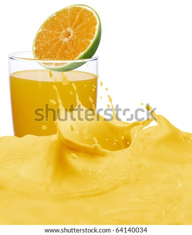 glass of orange juice with fruits - stock photo
