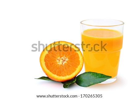 Glass of orange juice with half an orange isolated on white background.
