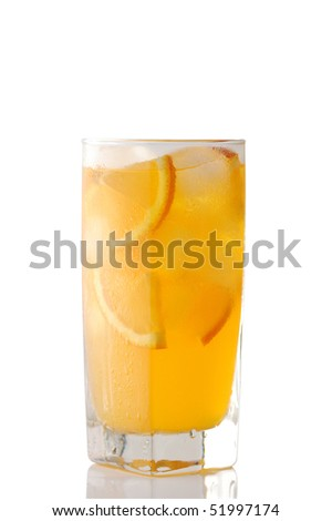 glass of orange juice with ice - stock photo