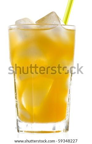 glass of orange juice with ice - stock photo