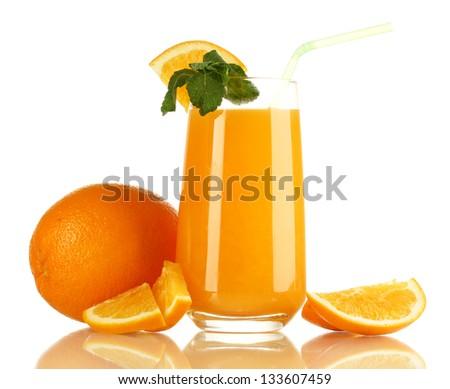 Glass of orange juice with mint and orange isolated on white - stock photo