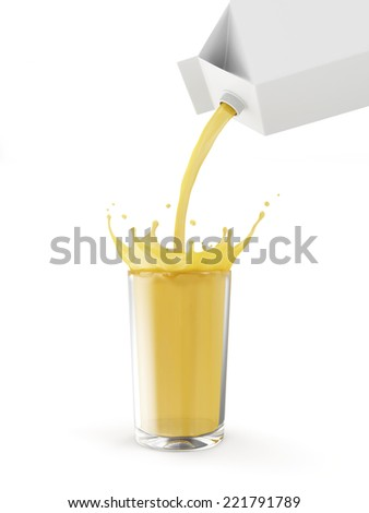 Glass of Orange Juice with Pouring Splash from Package isolated on white background - stock photo