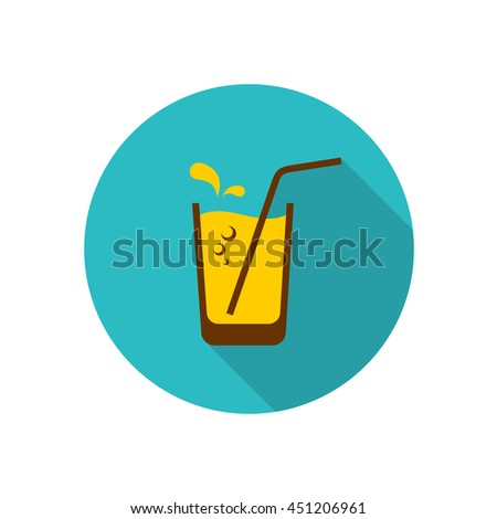 Glass of orange juice with straw, bubbles and water drops. Flat style icon logo with long shadow. - stock photo