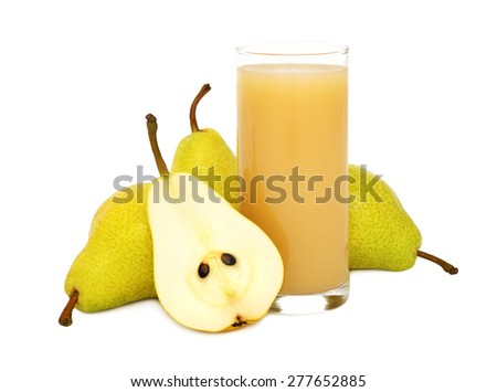 Glass of pear juice and pears isolated on white background - stock photo