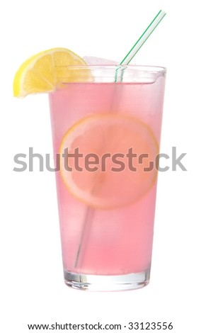 Glass of pink lemonade on ice with lemon wedges and straw - stock photo
