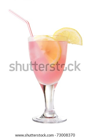 Glass of pink lemonade with ice and lemon wedges - stock photo