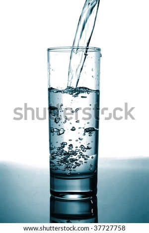 glass of pouring fresh and cold water