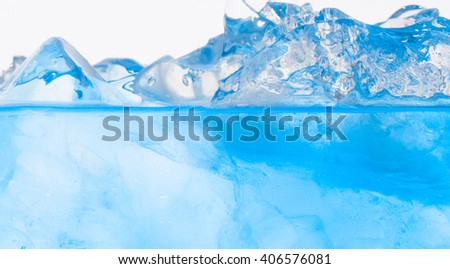 Glass of pure water with ice cubes - stock photo