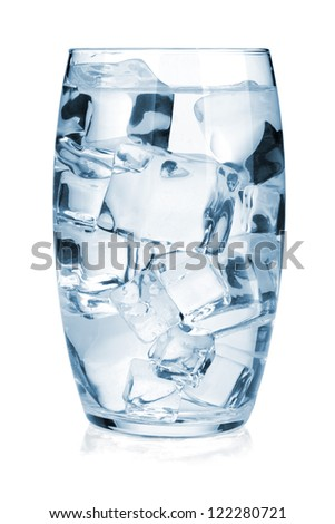 Glass of pure water with ice. Isolated on white background - stock photo