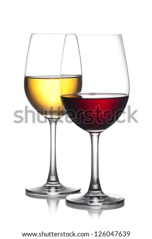 Glass of red and white wine isolated on a white background. The file includes a clipping path. - stock photo