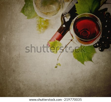 Glass of red and white wine on textured background - stock photo