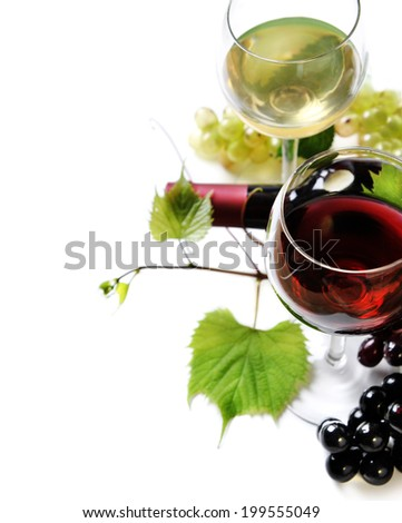 Glass of red and white wine on white background - stock photo