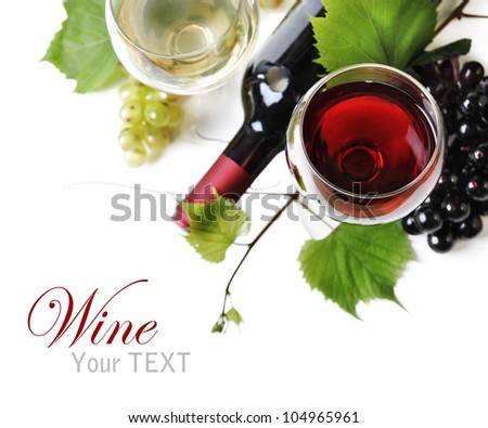 Glass of red and white wine with grapes and wine bottle isolated over white background.