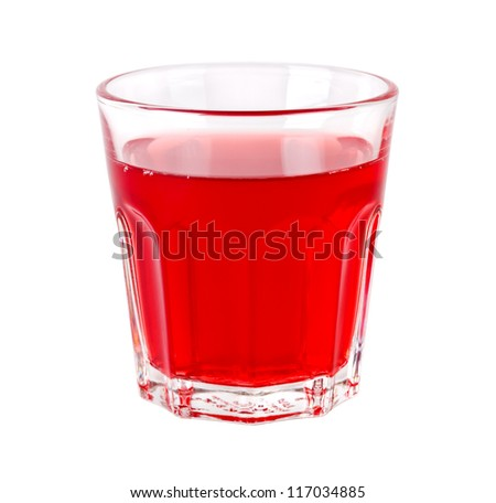 Glass of red transparent drink isolated on white background