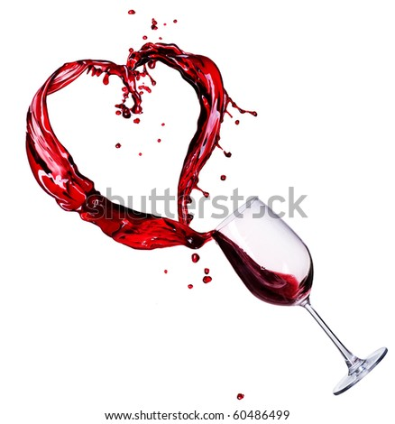 Glass of Red Wine Abstract Heart Splash - stock photo