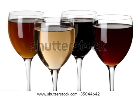 glass of red wine and a glass of white wine