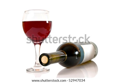 glass of red wine and wine bottle isolated over white - stock photo