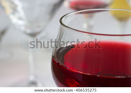 Glass of red wine close up