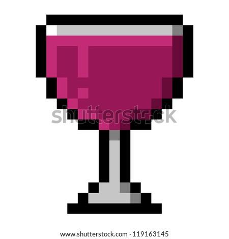 Glass of Red Wine in Big Pixels; Pixel art - stock photo