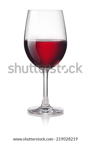 Glass of red wine isolated on a white background - stock photo